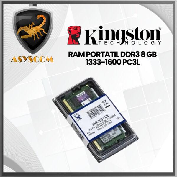 🦂 Memoria RAM ⚡ PARA PORTATIL DDR3 8 GB  KINGSTON 1333-1600 PC3L