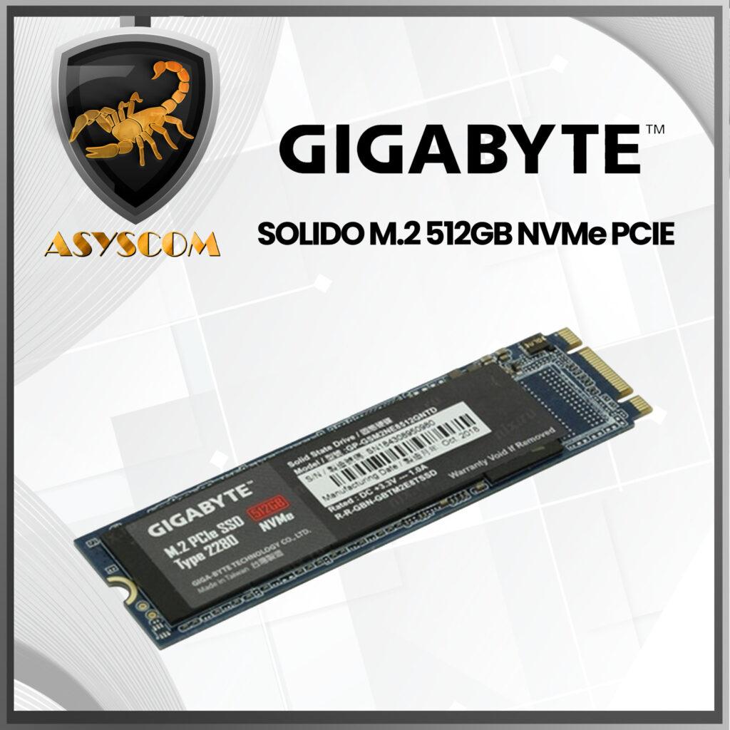 🦂 DISCO DURO ESTADO SOLIDO ⚡ M2 NVMe PCIE – 512GB – GIGABYTE